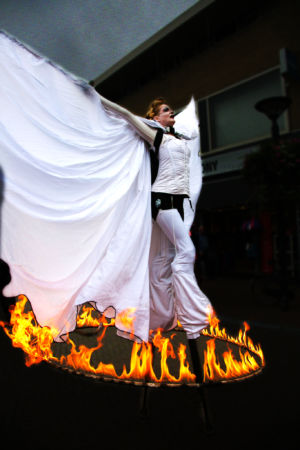STILTLIFE StreeTTheater Fire Walkact Angels and Demons